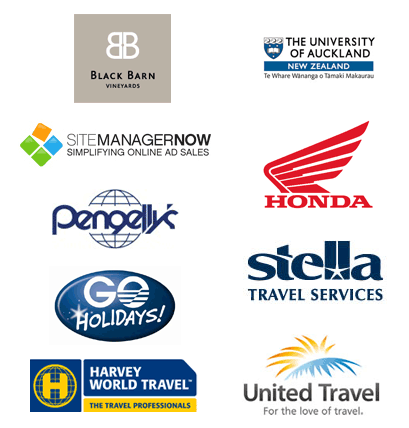 Our direct clients include Sustainable Business Council, Rishworth Aviation, Black Barn Vineyards, The University of Auckland, SiteManagerNow, Pengellys, Blue Wing Honda, Go Holidays, Stella Travel Services, United Travel, Harvey World Travel.